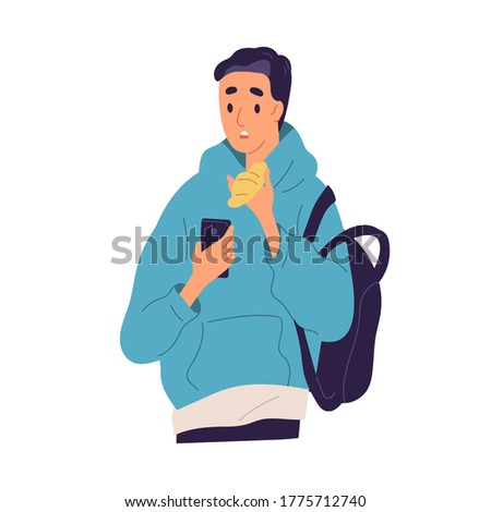 Guy with disappointed face expression read bad news at smartphone vector flat illustration. Shocked male looking at screen of mobile during eating isolated. Student man have negative information