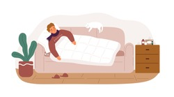 Guy with fever and influenza symptoms lying on sofa under blanket vector flat illustration. Sickness man having health problem sleeping on couch at home isolated. Male with grippe or infection