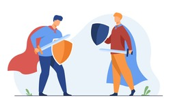 Guys playing knights and fighting. Warrior roles, costumes, capes, sword, shields. Flat vector illustration. Battle, arguing, game concept for banner, website design or landing web page
