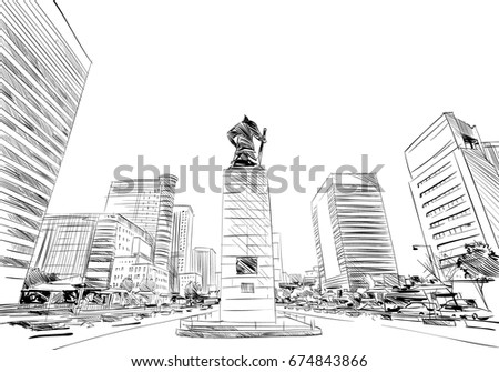 Gwanghwamun Square Statue. Seoul. The Republic of Korea. Hand drawn city sketch. Vector illustration.