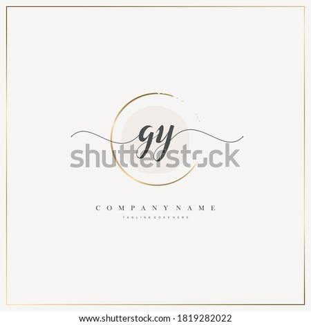 GY Initial Letter handwriting logo hand drawn template vector, logo for beauty, cosmetics, wedding, fashion and business Stock fotó ©