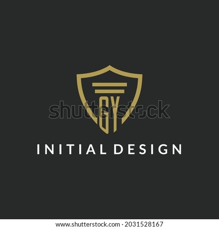 GY initial monogram logo with pillar and shield style design ideas Stock fotó ©