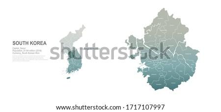 gyeonggi do map. south korea city, provinces vector map series.