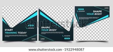 Gym and fitness social media post template. Black background with abstract cyan line color. Flat design vector with a photo collage. Usable for social media, flyers, banners, and web internet ads. Stock photo ©