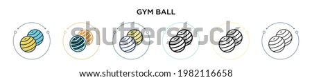 Gym ball icon in filled, thin line, outline and stroke style. Vector illustration of two colored and black gym ball vector icons designs can be used for mobile, ui, web Stockfoto ©