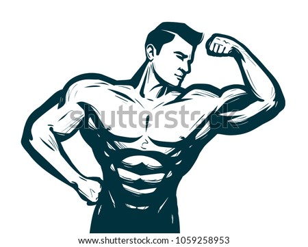 Gym, bodybuilding sport concept. Male athletic body. Sketch vector illustration