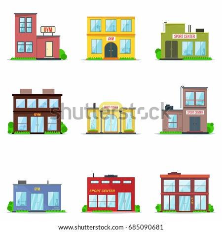 Gym building exterior. Templates of  sport center architecture. Constructions set  for  athletics, gymnastics activity and sport training. Flat style. Isolated. Vector.