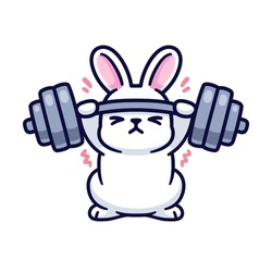 Gym bunny, cute cartoon white rabbit lifting heavy barbell. Funny fitness and exercise vector illustration.