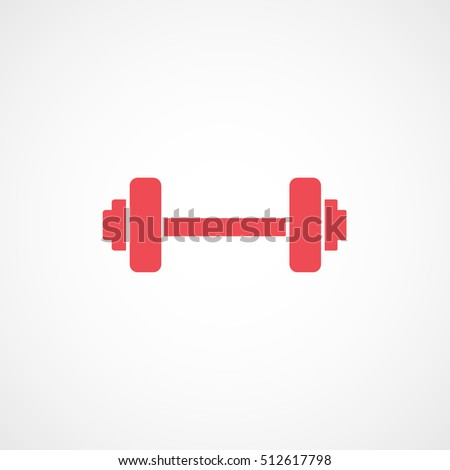 Gym Dumbbell Red Flat Icon On White Background