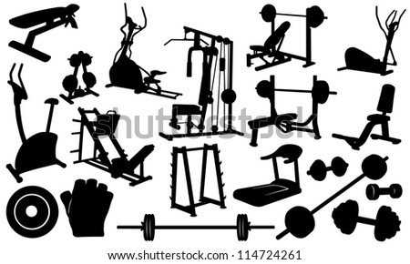 gym elements isolated on white