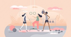 Gym fitness with fit workout activity and sport exercise tiny person concept. Physical indoor activity for health, strength or good shape vector illustration. Athletic body gain with weights or cardio