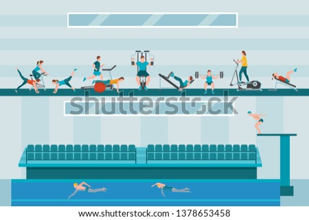 Gym flat vector illustration. Sportsmen swimming in indoor pool. Male, female characters exercising. People working out using sports equipment and machines. Healthy lifestyle. Two storey fitness club