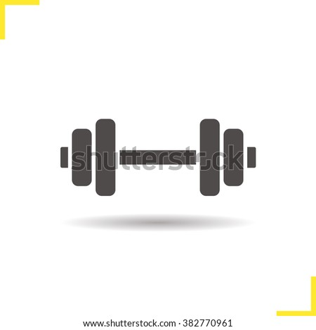 Gym icon. Drop shadow dumbbell icon. Bodybuilding and weightlifting sport equipment. Isolated black illustration. Logo concept. Vector silhouette symbol