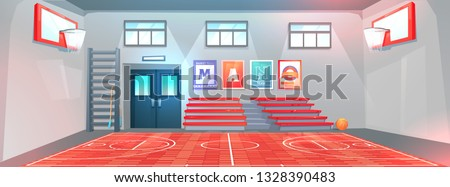 Gym interior at school . Basketball field and  hoops and ball. Bench for schoolchildren in gymnasium. Vector cartoon illustration Stock photo ©
