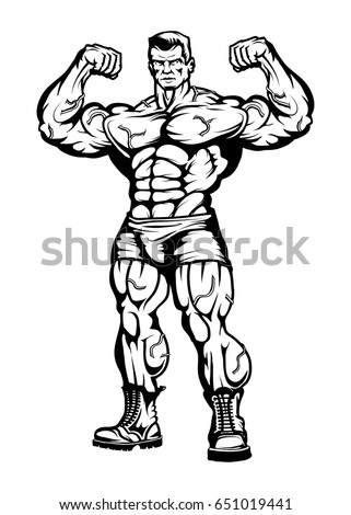 Illustration Of Bodybuilder Black And Stock Photo 390273172