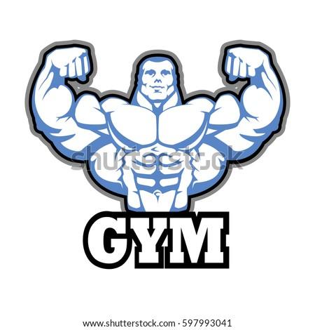 Gym Logo Vector Design Muscle Man Bodybuilder Huge Arms Shredded Abs EPS