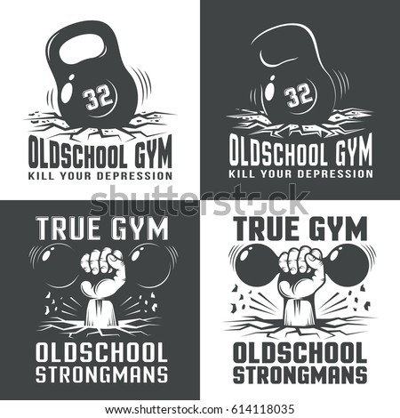 Gym old-school logos on white and black background. The fallen weight. Hand with retro dumbbell punching the floor from the bottom.