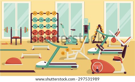 Gym vector flat colorful