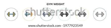 gym weight icon in filled  thin