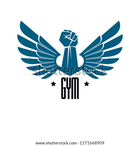 Gym weightlifting and fitness sport club logo, retro style vector emblem with wings. With barbell and strong hand fist.