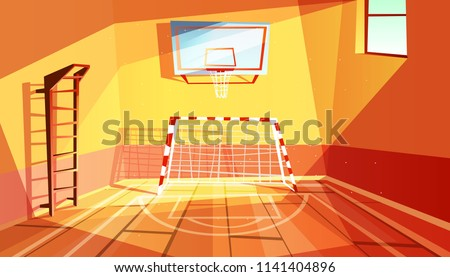 Gymnasium vector illustration of college or school gym and sport hall interior. Cartoon background of university exercises room for football, basketball and physical training equipment