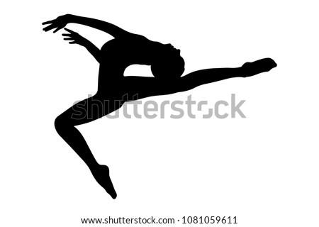 gymnast girl jump with tilt torso back in rhythmic gymnastics