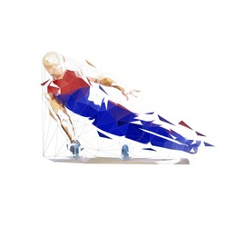 Gymnast, low poly performs flairs on pommel horse. Geometric gymnastics. Isolated vector illustration