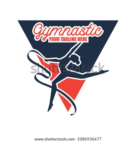 gymnastic sport logo with text space for your slogan / tag line, vector illustration