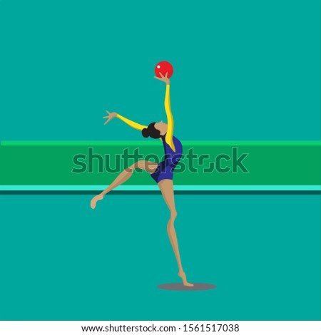 Gymnastic woman with ball, Sport that includes exercises requiring balance, strength, flexibility, agility, coordination, and endurance. World athletes.