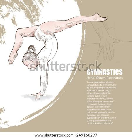 Gymnastics background Design. Hand drawn.