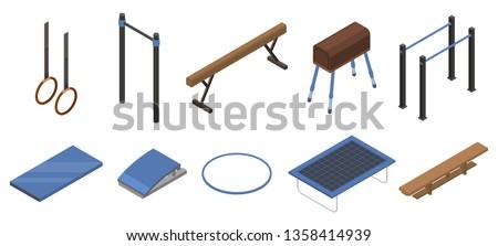 Gymnastics equipment icons set. Isometric set of gymnastics equipment vector icons for web design isolated on white background