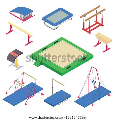 gymnastics equipment icons set