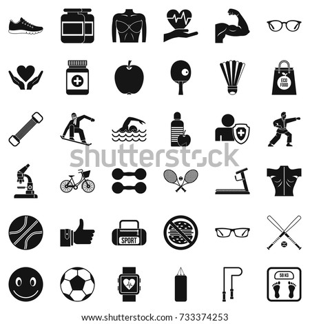 Gymnastics icons set. Simple style of 36 gymnastics vector icons for web isolated on white background