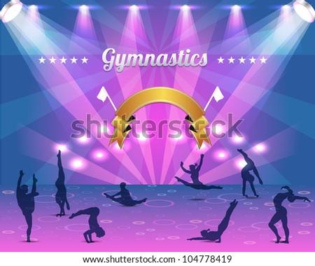 Gymnastics Shield Vector Background