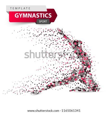 Gymnastics, sport - dot illustration on the white background. Vector eps 10.
