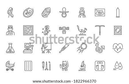 Gynecology flat line icons set. Pregnancy test, baby ultrasound, obstetrics doctor, embryo in uterus, infertility, ivf vector illustrations. Outline signs pregnant woman health, hospital infographic.