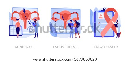 Gynecology, healthcare, female disease diagnosis. Hormone disbalance, estrogen lack. Menopause, endometriosis, breast cancer metaphors. Vector isolated concept metaphor illustrations. Photo stock ©