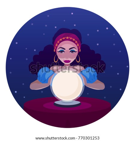 Gypsy fortune teller with crystal ball and a table. Cartoon illustration of woman oracle. Girl, witch predicts fate.