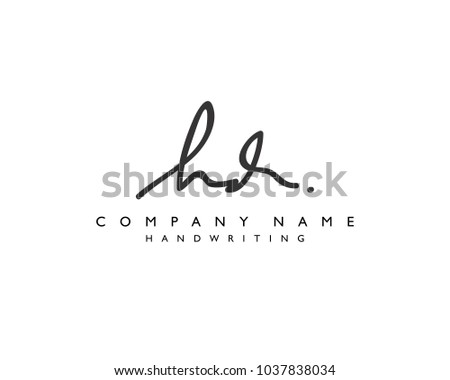 H D Initial handwriting logo Stock fotó ©
