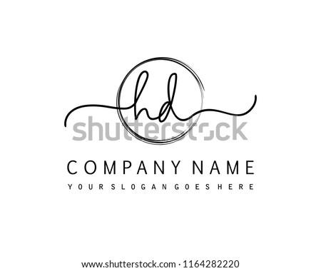 H D Initial handwriting logo vector Stock fotó ©
