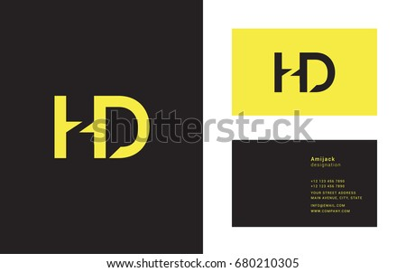 H D joint letter logo design with business card template Stock fotó ©
