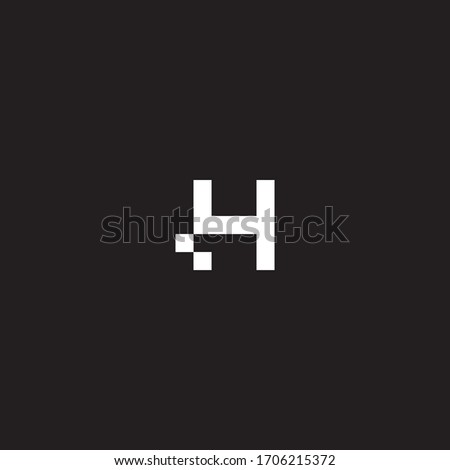 H initial logo with bit square accent in monochrome. Foto stock ©