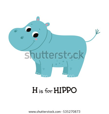 H is for hippo. Flashcard letter H. Learning English vocabulary. Vector illustration.