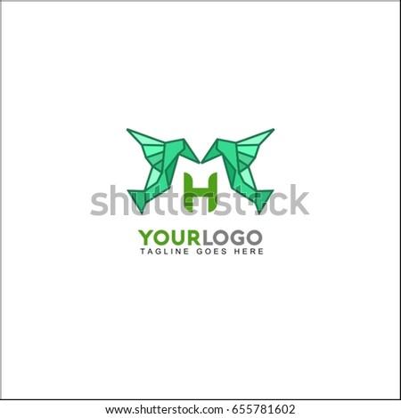 h letter bird logo icon design