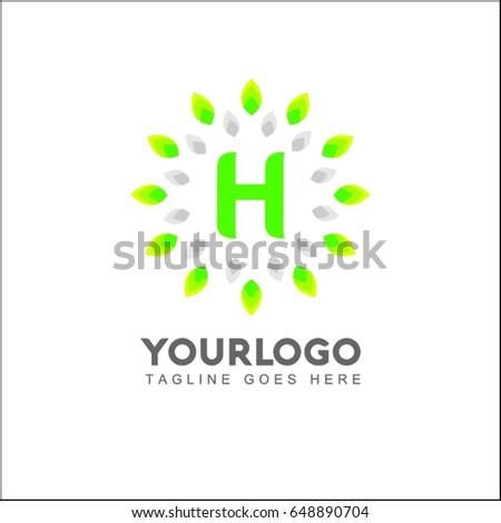 h letter circle leaf logo