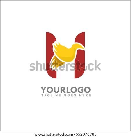 h letter elegant wing flying