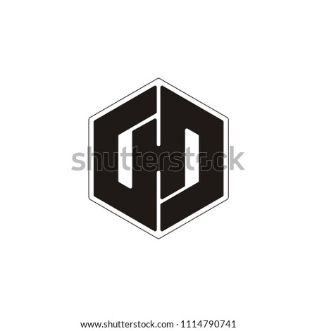 H letter hexagon or H D D H vector logo