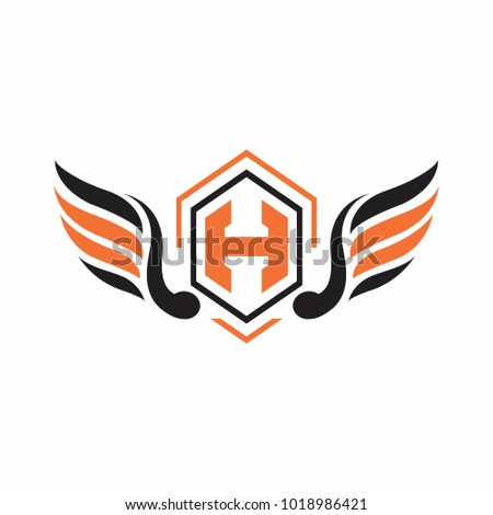 h letter logo design with wing