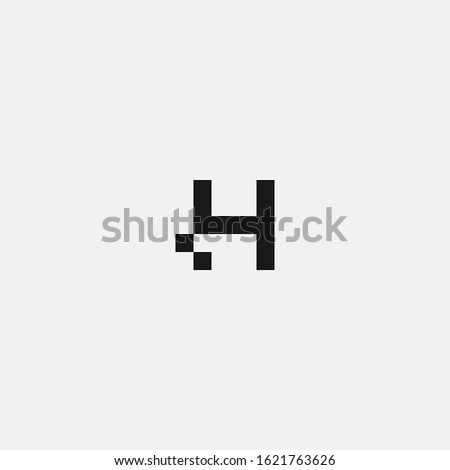 H letter logo with a bit pixel accent Foto stock ©