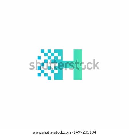 H Letter pixel logo design modern template Foto stock ©
